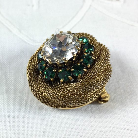 vintage austrian brooch, gold tone mesh with green and clear rhinestones