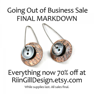 textured copper and vintage smoky mother of pearl button earrings - everything 70% off at RiinGillDesign.etsy.com