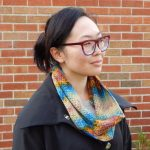 crochet textured cowl with planned pooling