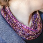 cowl with knit and purl pattern spiral around