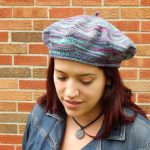 purple and aqua knit beret