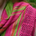 triangular linen stitch striped shawl with lace border along one edge