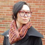 long cowl meant to wrap twice around neck, reversible stitch pattern